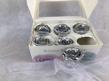Róże wieczne (srebrny metalik) 5,5 cm
