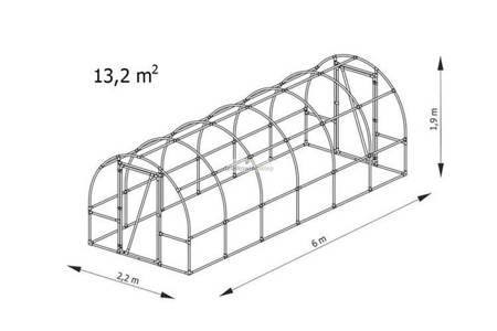 Tunel foliowy *B6* 6,0 x 2,2 x 1,9m folia 4UV