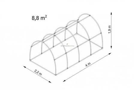 Tunel foliowy *Bv4* 4,0 x 2,2 x 1,9m folia 4UV (rozsuwany)